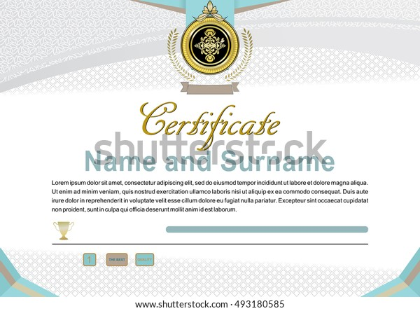 White modern official certificate with gold emblem