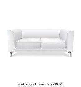 white modern sofa isolated on white background. realistic 3d vector illustration