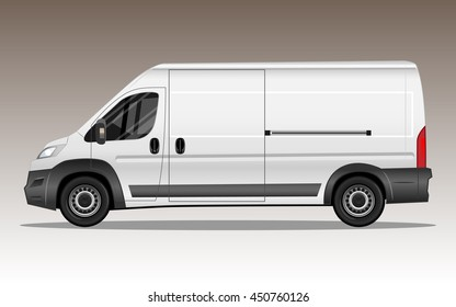 White modern van with blank space for text or logo. Detailed vector illustration.