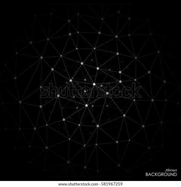 White molecule on black background. Graphic composition for your design. Vector illustration
