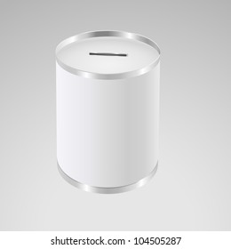 White money box. Donation Box. Aluminum Can