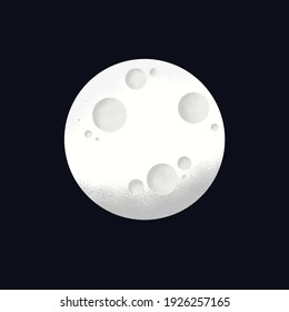 White Moon with Noise Grain Texture Isolated