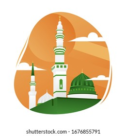 masjid nabawi vector images stock photos vectors shutterstock https www shutterstock com image vector white mosque illustration islamic building muslim 1676855791
