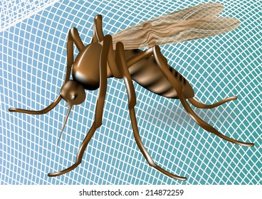 white mosquito net with mosquito on blue background