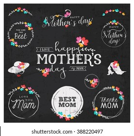 White Mother's Day Badge Designs on Grungy Chalkboard