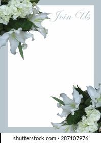 White mountain lily wedding invitation a?? vector, illustration