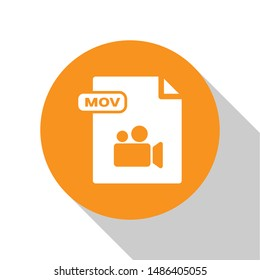 White MOV file document. Download mov button icon isolated on white background. MOV file symbol. Audio and video collection. Orange circle button. Vector Illustration