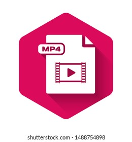 White MP4 file document. Download mp4 button icon isolated with long shadow. MP4 file symbol. Pink hexagon button. Vector Illustration