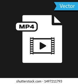 White MP4 file document. Download mp4 button icon isolated on black background. MP4 file symbol.  Vector Illustration