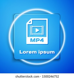 White MP4 file document. Download mp4 button icon isolated on blue background. MP4 file symbol. Blue square button. Vector Illustration