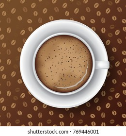 White mug of coffee with saucer, coffee foam and bubbles. Top view, realistic vector. Seamless coffee grains pattern