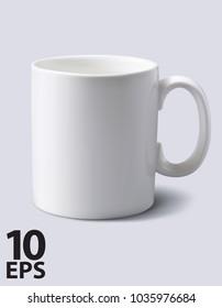 White mug realistic. Vector 3d illustration
