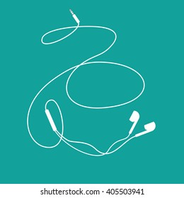 White music earphones with connector on teal background. vector and illustration design.