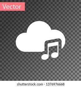 White Music streaming service icon isolated on transparent background. Sound cloud computing, online media streaming, online song, audio wave. Vector Illustration