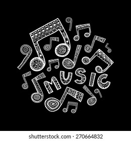 White music word and notes fill a circle shape. Black background. Vector illustration.