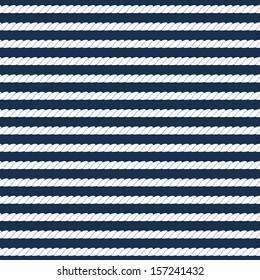 White navy rope stripes on dark blue seamless pattern, vector