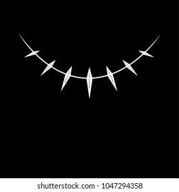 White necklace pattern with grooves on black background