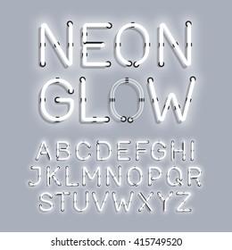 White Neon Glow alphabet vector illustration