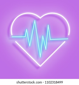 White neon heart with a curve of the cardiogram in the interior. A neon heart icon on a pink background. Vector illustration.