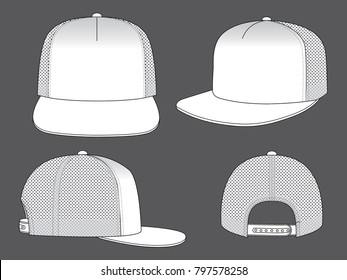 White net hip hop hat & snap back