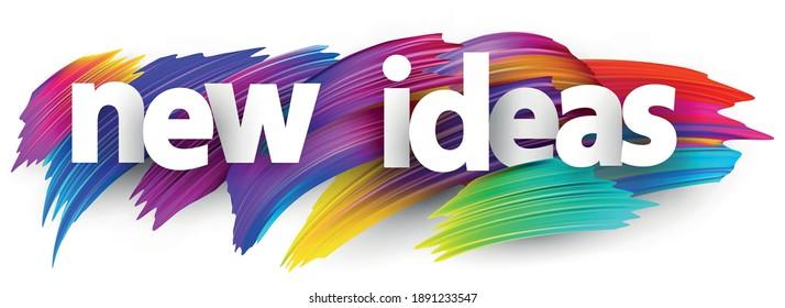 Weiße neue Ideen zeichnen sich durch bunte Pinselstriche auf dem Hintergrund aus. Vektordesign-Element für Banner, Poster, Web.