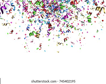 White New Year background with colorful paper serpentine. Vector illustration.