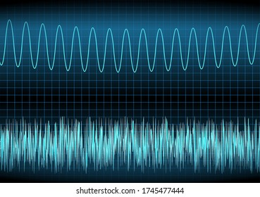 White noise and sine wave on the oscilloscope. The voltage waveform. A sound wave of light on a dark background. Turquoise color. Stock vector illustration.