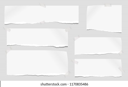 White note, notebook paper pieces with torn edge stuck on gray lined backgroud. Vector illustration.
