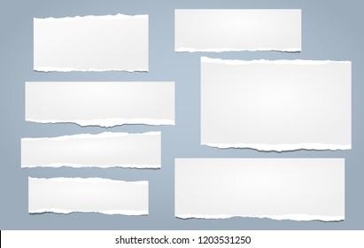 White note, notebook paper strips with torn edges stuck on blue background. Vector illustration.