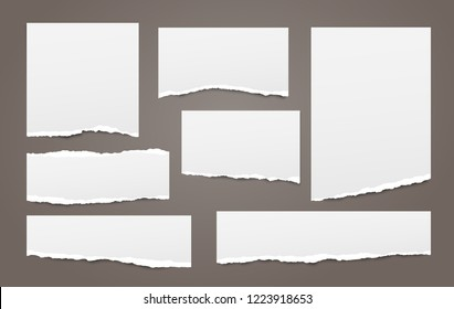 White note, notebook paper strips with torn edges stuck on dark brown background. Vector illustration.