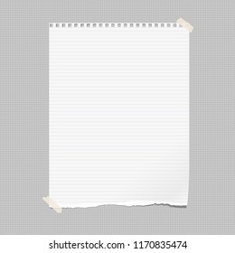 White note, notebook paper with torn edge stuck on gray squared backgroud. Vector illustration.