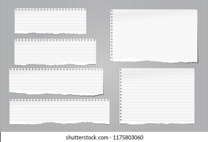 White note, notebook torn paper strips with torn edges stuck on gray lined backgroud. Vector illustration.