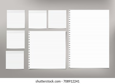 White note paper, copybook, notebook sheet stuck on light gray background.