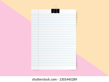 White note paper and space for text on yellow and pink color background, Minimal concept