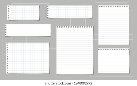White notebook paper, lined and squared note paper strips stuck on light background. Vector illustration