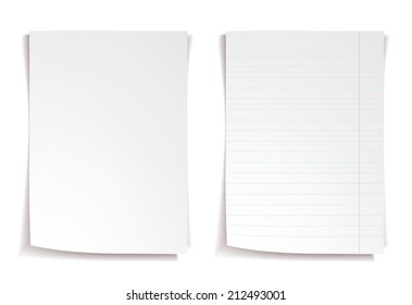 White notebook paper with lines on white background