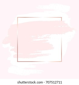 White and nude brush strokes and rose gold frame. Abstract vector background.
