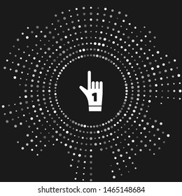 White Number 1 one fan hand glove with finger raised icon isolated on grey background. Symbol of team support in competitions. Abstract circle random dots. Vector Illustration