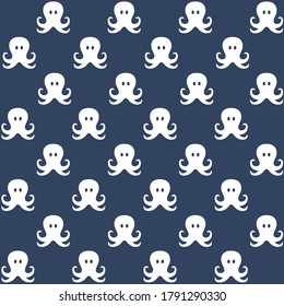white octopus with blue background repeat pattern