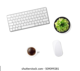 White office desk table with wireless aluminum keyboard, mouse, cup of coffee and succulent flower in pot. Top view with copy space. Flat lay. Vector illustration. EPS10.