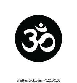 White Om symbol of Hinduism vector icon.
