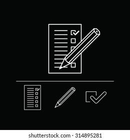 White on black checklist with pencil icon