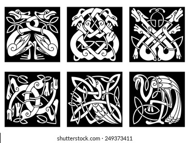 White on black intricate celtic birds and animals as stork, heron, dog, wolf, crane and goose