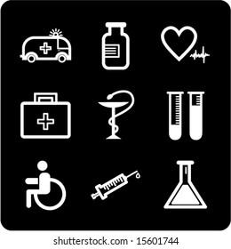 White on black medicine icons set. Vector.