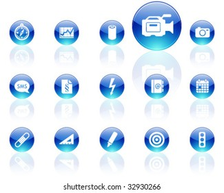 white on blue aqua icons | set 15