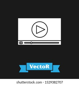 White Online play video icon isolated on black background. Film strip with play sign.  Vector Illustration