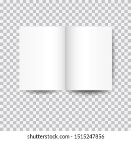 white open book mockup with shadow isolated on transparent background. vector illustration