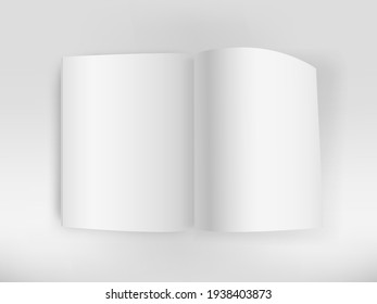 White open book on white table vector mockup