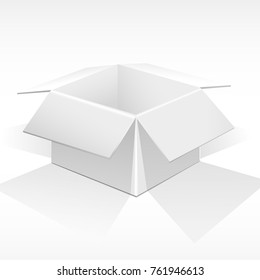 White open box for parcels, gifts. A realistic picture. Illuminated from above. Vector illustration.