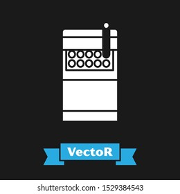 White Open cigarettes pack box icon isolated on black background. Cigarettes pack.  Vector Illustration